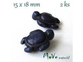 Želva howlitová 15x18mm, 2ks, modrá