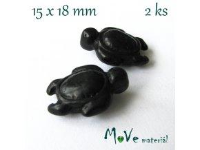 Želva howlitová 15x18mm, 2ks, černá