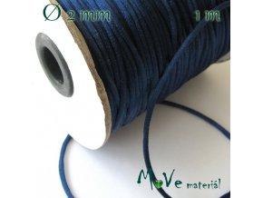Šňůra saténová 2mm tm. modrá, 1m