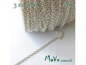 Řetízek kovový - délka 3x2mm/1m, stříbrný