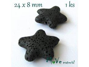 Lávový korálek hvězda 24x8mm, 1ks, černý