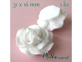 Kabošon lesklý K4 - resin - 1ks, bílý