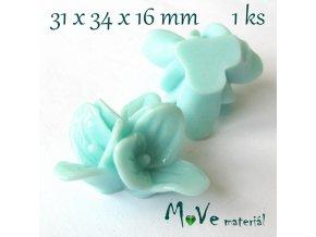 Kabošon lesklý K5 - resin - 1ks, tyrkysový
