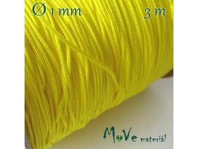 Nylonová pletená šňůra - 1mm/3m, žlutá