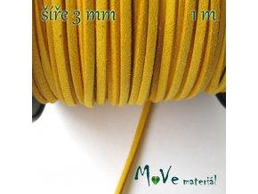 Plochá syntetická kůže, 1m, tm. žlutá