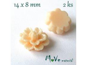 Kabošon květ lesklý F6 - resin - 2ks, sv. losos
