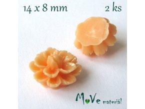 Kabošon květ lesklý F6 - resin - 2ks, broskvový
