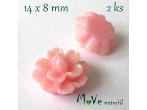 Kabošon květ lesklý F6 - resin - 2ks, růžový