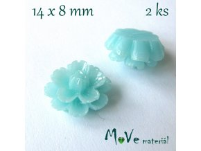 Kabošon květ lesklý F6 - resin - 2ks, tyrkysový