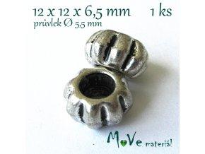 Korálek kovový vroubkovaný, 1kus, starostříbro