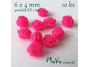 Resinový korálek KVĚT 6x4mm, 10ks, tm. růžový