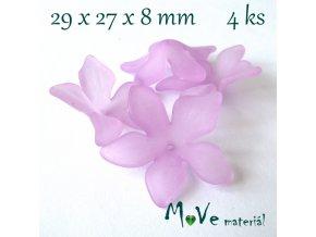 Akrylový květ 29x27x8mm, 4ks, růžovofialový
