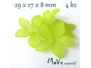 Akrylový květ 29x27x8mm, 4ks, žlutozelený