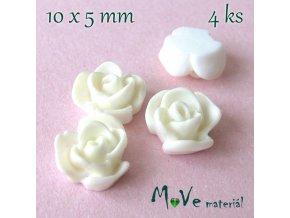 Kabošon květ lesklý - resin - 4ks, bílý