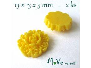 Kabošon květ F7 - resin - 2ks, žlutý