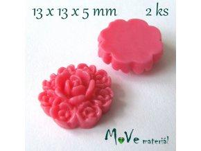 Kabošon květ F7 - resin - 2ks, růžový