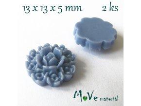 Kabošon květ F7 - resin - 2ks, modrý