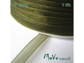 Šifónová stuha 6mm, 1m, olivová