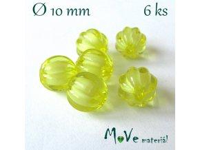 Korálek plast kulička 10mm, 6ks, žlutý