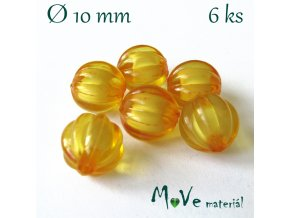 Korálek plast kulička 10mm, 6ks, tm. žlutý