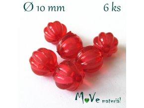 Korálek plast kulička 10mm, 6ks, červený