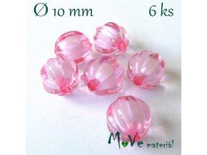 Korálek plast kulička 10mm, 6ks, sv. růžový