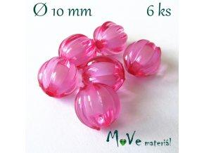 Korálek plast kulička 10mm, 6ks, tm. růžový