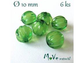 Korálek plast kulička 10mm, 6ks, zelený