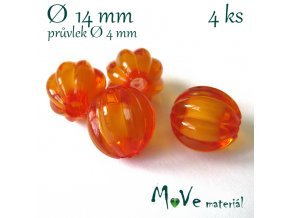 Korálek plast kulička 14mm, 4ks, oranžový