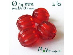 Korálek plast kulička 14mm, 4ks, červený