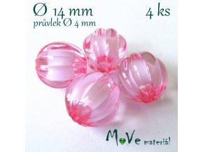 Korálek plast kulička 14mm, 4ks, sv. růžový