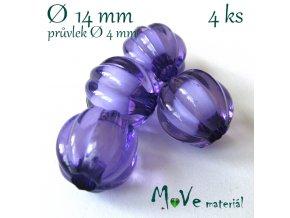 Korálek plast kulička 14mm, 4ks, fialový