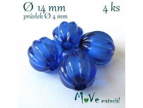 Korálek plast kulička 14mm, 4ks, tm. modrý