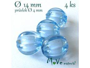 Korálek plast kulička 14mm, 4ks, sv. modrý