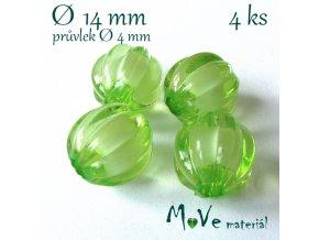 Korálek plast kulička 14mm, 4ks, sv. zelený
