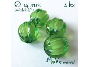 Korálek plast kulička 14mm, 4ks, tm. zelený
