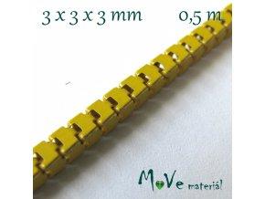 Benátský řetízek kovový - 3x3x3mm/0,5m, žlutý