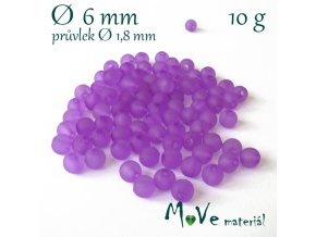 Akrylový korálek matný, 6mm/10g, fialový