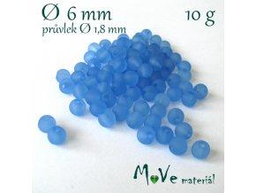Akrylový korálek matný, 6mm/10g, modrý