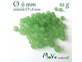 Akrylový korálek matný, 6mm/10g, zelený