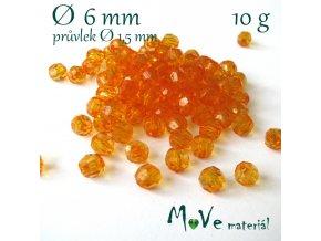Akrylové broušené korálky, 6mm/10g, oranžové