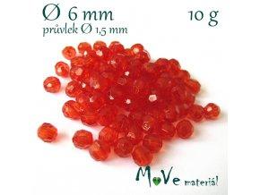 Akrylové broušené korálky, 6mm/10g, červené