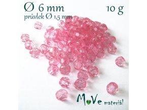 Akrylové broušené korálky, 6mm/10g, růžové