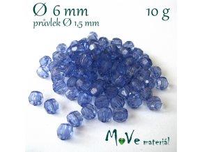 Akrylové broušené korálky, 6mm/10g, modré