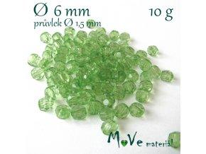 Akrylové broušené korálky, 6mm/10g, sv. zelené