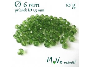 Akrylové broušené korálky, 6mm/10g, tm. zelené