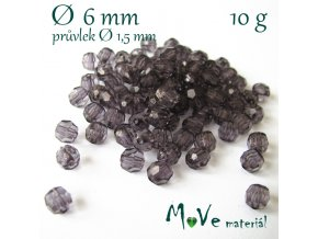 Akrylové broušené korálky, 6mm/10g, černošedé