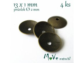Kaplík 13x1mm, 4ks, staromosazný
