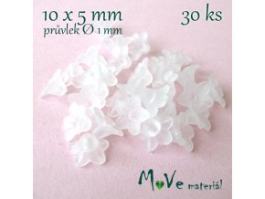 Zvonečky transparentní mat. 10x5mm, 30ks, bílé