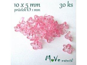 Zvonečky průhledné 10x5mm, 30ks, růžové